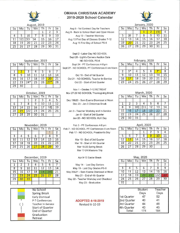 Doe Calendar 2020 18.Fit Academic Calendar 2020