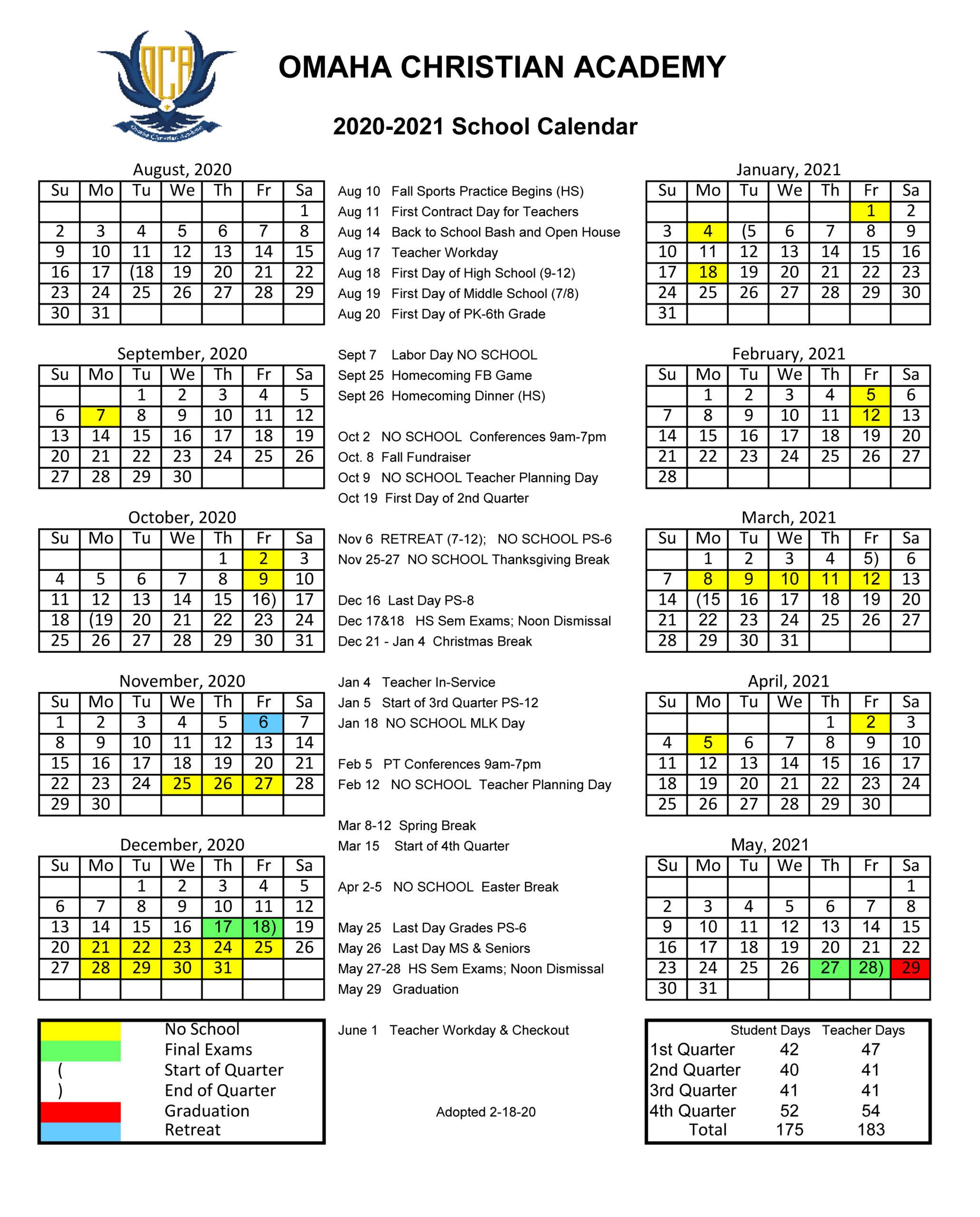 2020/2021 School Calendar - Omaha Christian Academy